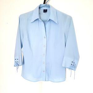 Light blue 3/4 sleeve blouse
